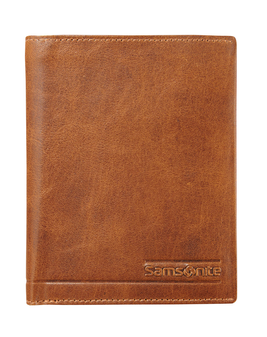 Samsonite Slant Wallet 6 RFID  Cards 2 Window Tan