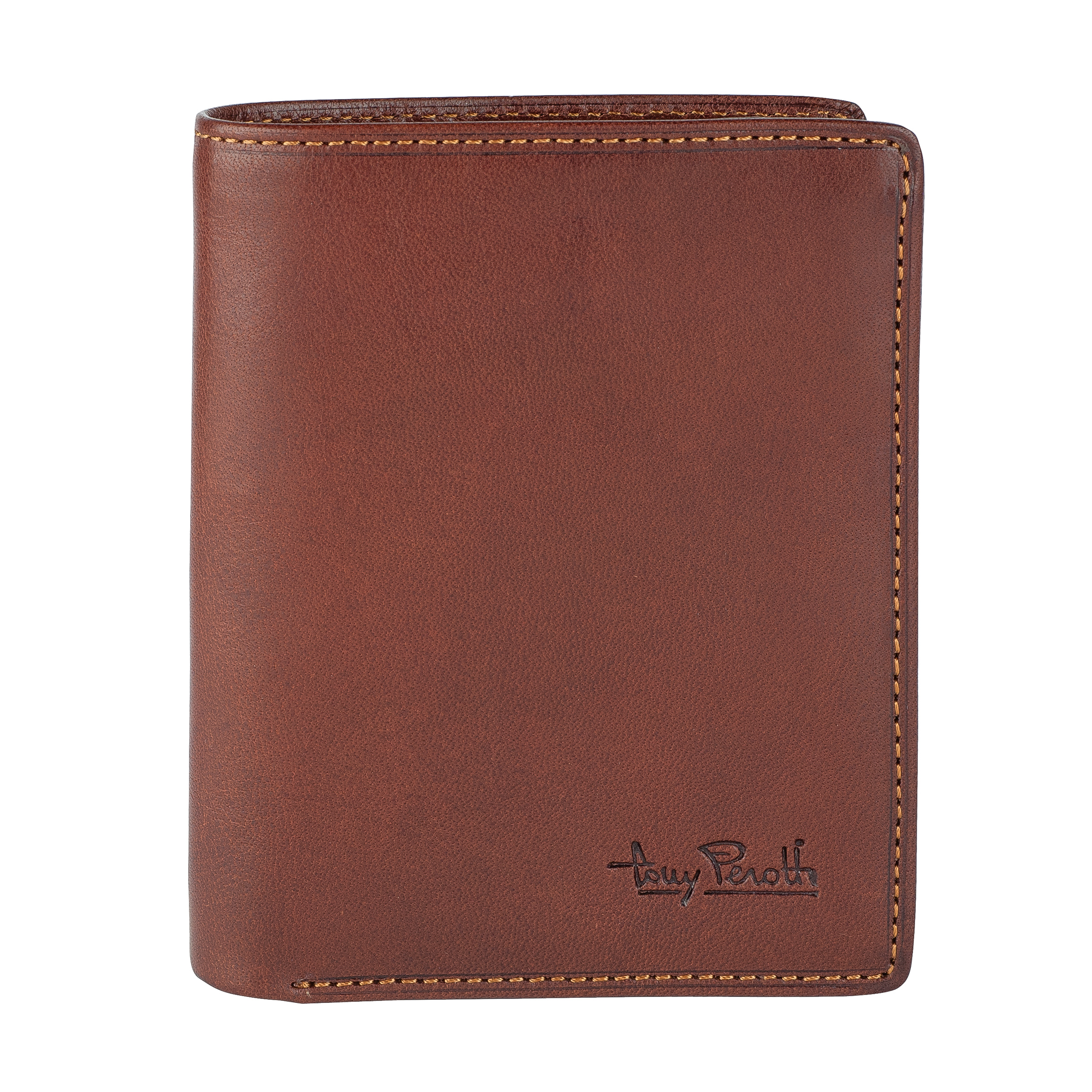 Tony Perotti Vertical billfold with coin pocket and creditcard slots Brown