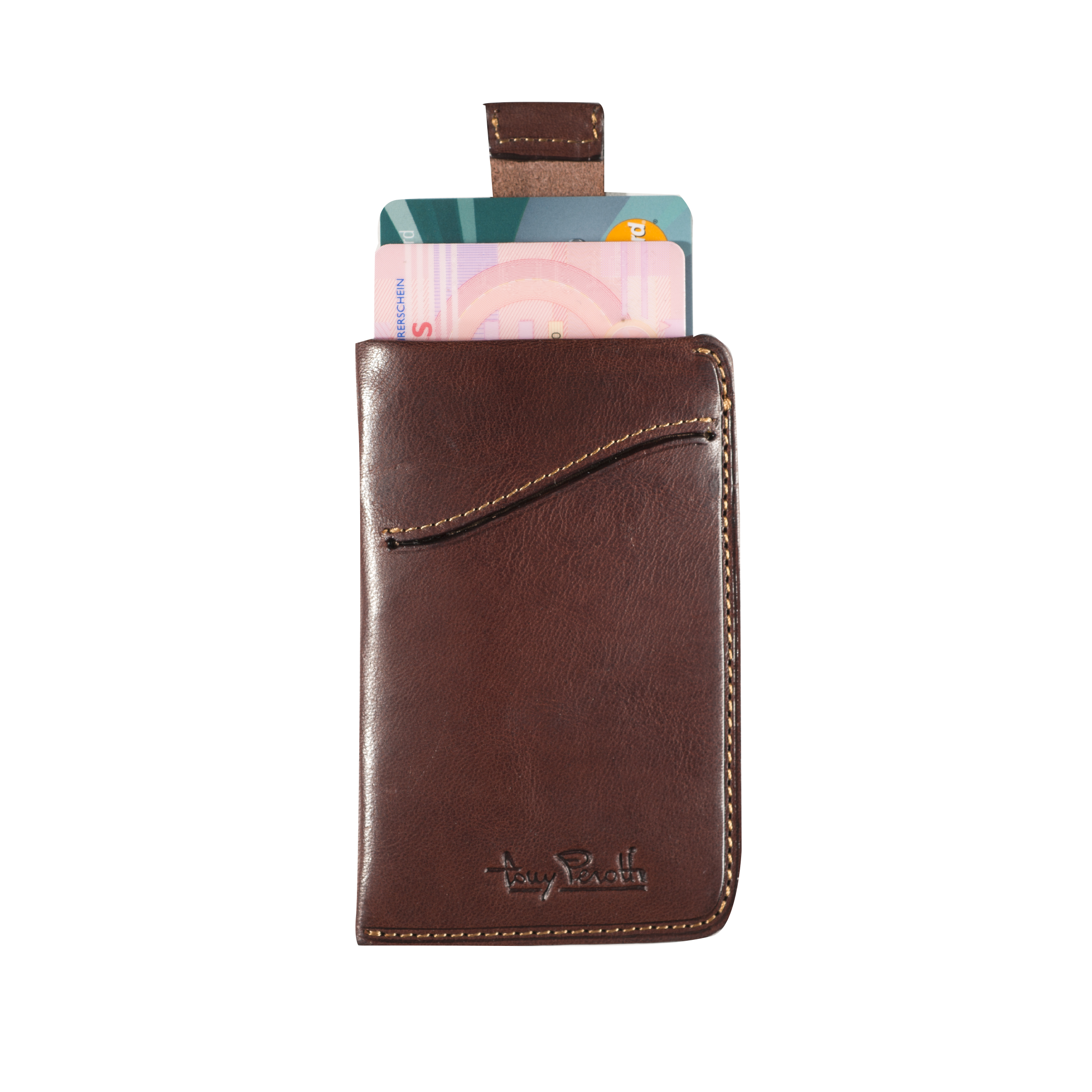 Tony Perotti Creditcard Wallet with Pull up System Brown